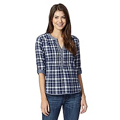 Mantaray - Blue checked button fastening top