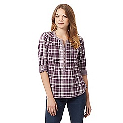 Mantaray - Purple buttoned check shirt