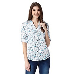 Mantaray - White floral woven shirt