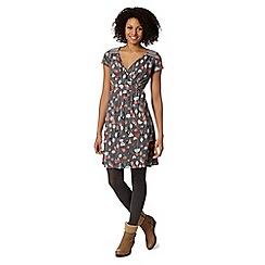 Mantaray - Grey floral embroidered shoulder dress
