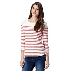 Mantaray - Dark peach coral striped t-shirt