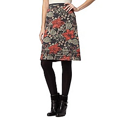 Mantaray - Grey large floral printed A-line skirt