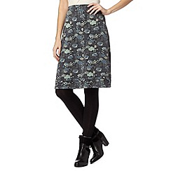 Mantaray - Grey rain printed A-line skirt
