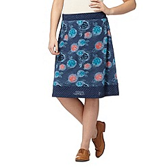 Mantaray - Navy polka dot flower skirt