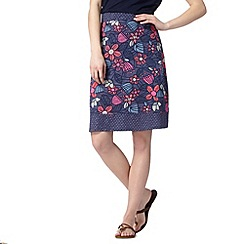 Mantaray - Navy batik floral skirt