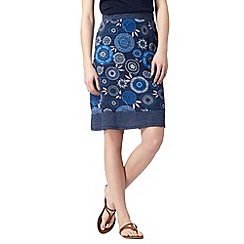 Mantaray - Navy spotted floral print skirt