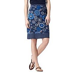 Mantaray - Navy spotted floral print skirt