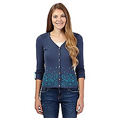 Mantaray - Navy embroidered leaves cardigan