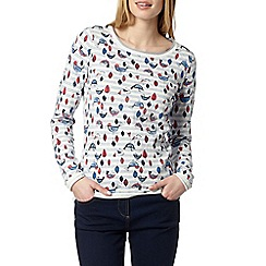 Mantaray - Off white bird floral jumper
