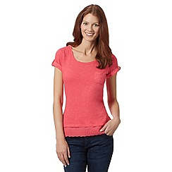 Mantaray - Bright pink broderie hem t-shirt