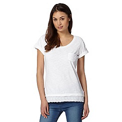 Mantaray - White broderie hem top