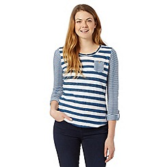 Mantaray - Navy multi striped top