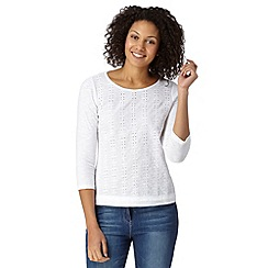 Mantaray - White broderie three quarter length sleeved top