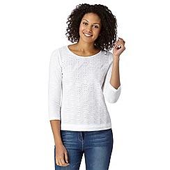 Mantaray - White broderie three quarter length sleeved top