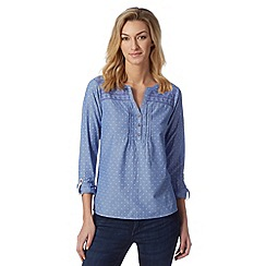 Mantaray - Light blue embroidered spot shirt