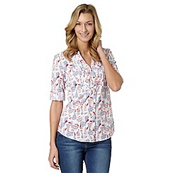 Mantaray - White floral print button self tie top