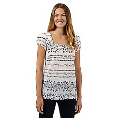Mantaray - White floral lined square neck top