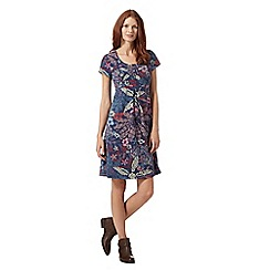 Mantaray - Navy exploding flower printed dress