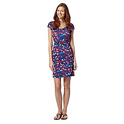Mantaray - Bright blue floral lattice neck dress