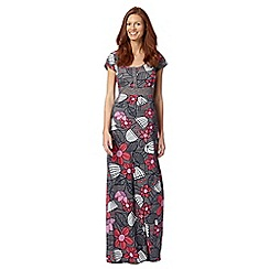 Mantaray - Dark grey floral jersey maxi dress