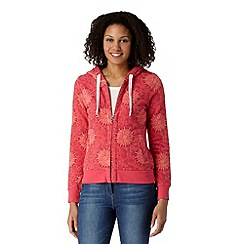 Mantaray - Dark pink floral zip through hoodie