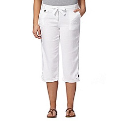 Mantaray - White crosshatch cropped trousers