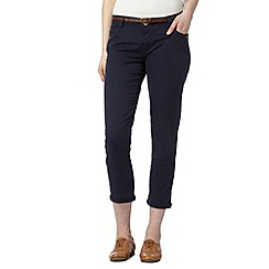 Mantaray - Navy belted cropped chinos