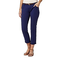 Mantaray - Dark blue belted cropped chinos