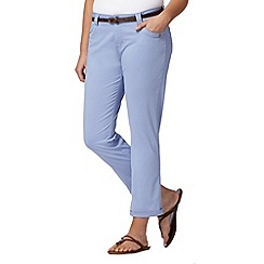 Mantaray - Light blue belted cropped chinos