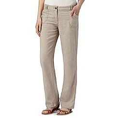 Mantaray - Natural linen blend cross hatch trousers