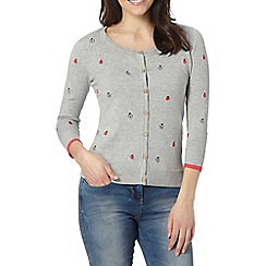 Mantaray - Grey apple embroidered cardigan