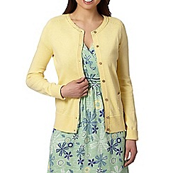 Mantaray - Light yellow crochet neck cardigan