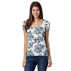 Mantaray - White floral drawstring hem top