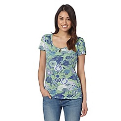 Mantaray - Green short sleeved floral print top