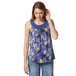 Mantaray - Blue sleeveless daisy top