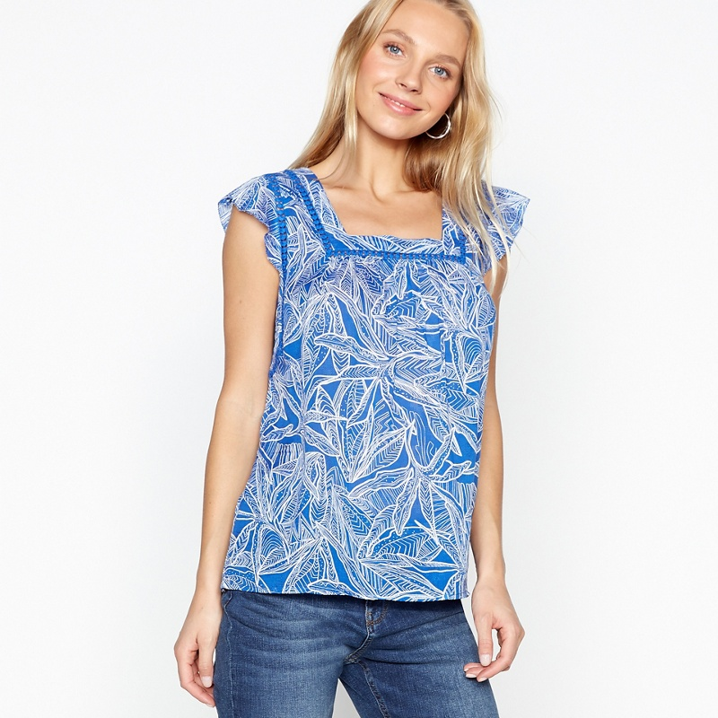 c7cb85bc1c0 Mantaray Blue Palm Frilled Top, Women's, Bright Blue | £22.00 | Grazia