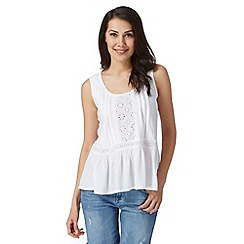Mantaray - White broderie peplum top