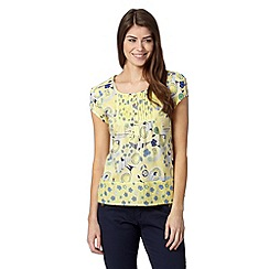 Mantaray - Yellow floral pintucked top
