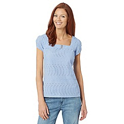 Mantaray - Light blue square neckline broderie top
