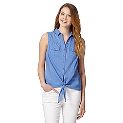 Mantaray - Blue crochet back tie hem shirt