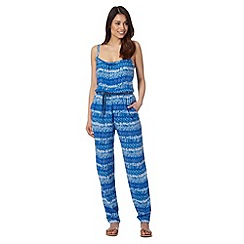 Mantaray - Blue short sleeved floral printed jumpsuit