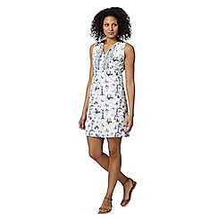 Mantaray - White boat print tie back dress