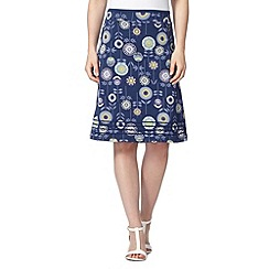 Mantaray - Navy circle floral jersey skirt