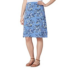 Mantaray - Light blue floral jersey skirt
