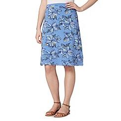 Mantaray - Light blue floral jersey skirt