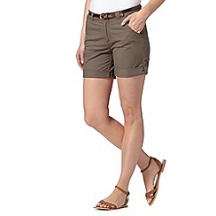 Mantaray - Khaki belted chino shorts