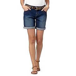 Mantaray - Blue belted denim shorts