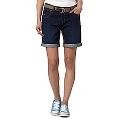 Mantaray - Dark blue belted denim shorts