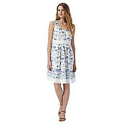 Mantaray - White stamp print embroidered dress