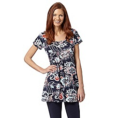 Mantaray - Navy floral print tunic top